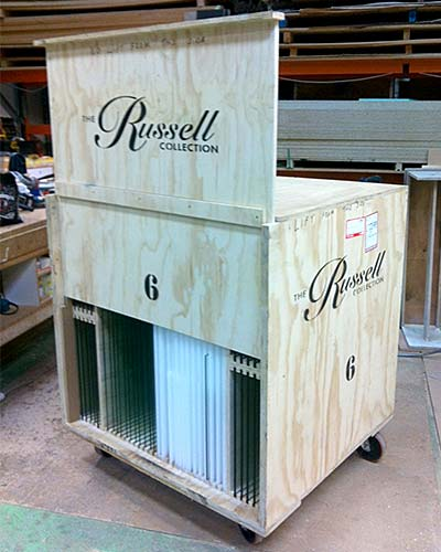 Custom crate with sliding panel